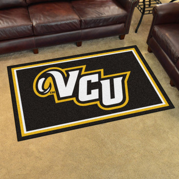 4' x 6' Virginia Commonwealth University Black Rectangle Rug