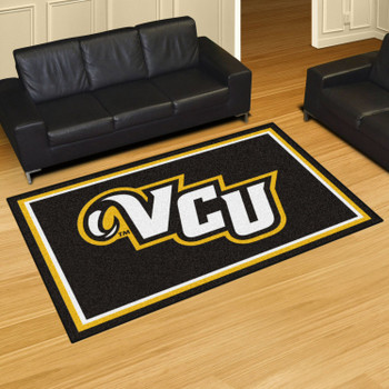 5' x 8' Virginia Commonwealth University Black Rectangle Rug