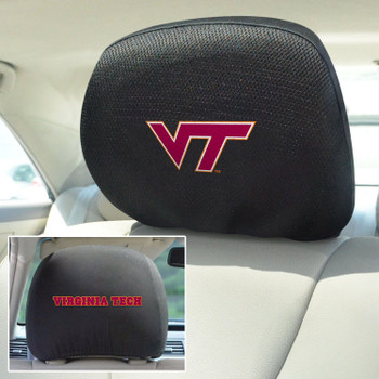 Virginia Tech Car Headrest Cover, Set of 2