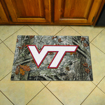"19"" x 30"" Virginia Tech Rectangle Camo Scraper Mat - ""VT"" Logo"