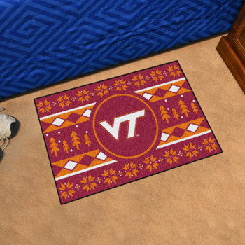 "19"" x 30"" Virginia Tech Holiday Sweater Red Rectangle Starter Mat"