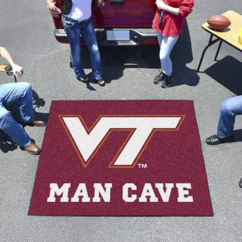 """59.5"""" x 71"""" Virginia Tech Man Cave Tailgater Maroon Rectangle Mat"""