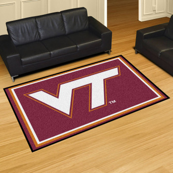 5' x 8' Virginia Tech Maroon Rectangle Rug