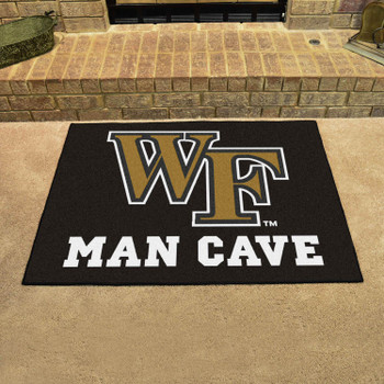 "33.75"" x 42.5"" Wake Forest University Man Cave All-Star Black Rectangle Mat"