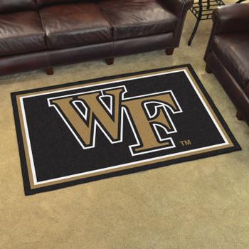 4' x 6' Wake Forest University Black Rectangle Rug