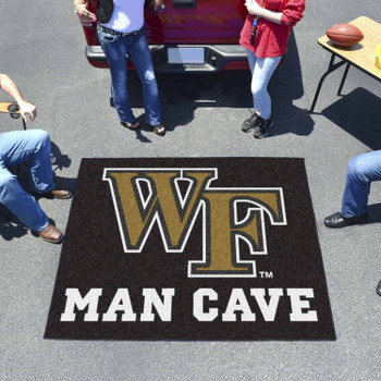 "59.5"" x 71"" Wake Forest University Man Cave Tailgater Black Rectangle Mat"