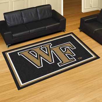 5' x 8' Wake Forest University Black Rectangle Rug