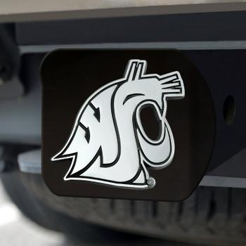 Washington State University Hitch Cover - Chrome on Black