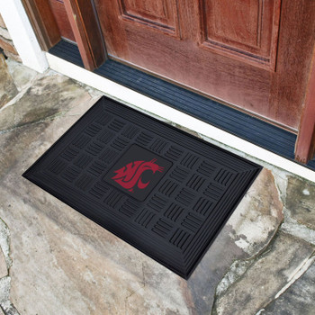 "19.5"" x 31.25"" Washington State University Medallion Rectangle Door Mat"