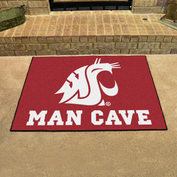 "33.75"" x 42.5"" Washington State University Man Cave All-Star Red Rectangle Mat"