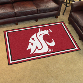 4' x 6' Washington State University Red Rectangle Rug
