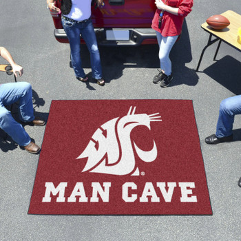 "59.5"" x 71"" Washington State University Man Cave Tailgater Red Rectangle Mat"
