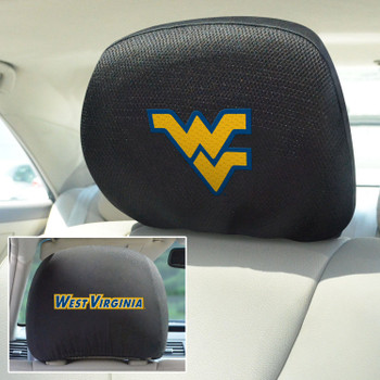 West Virginia University Car Headrest Cover, Set of 2
