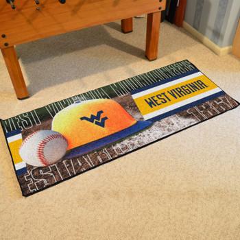 """30"""" x 72"""" West Virginia Baseball Style Rectangle Runner Mat"""