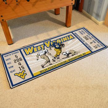 """30"""" x 72"""" West Virginia University Ticket Rectangle Runner Mat"""