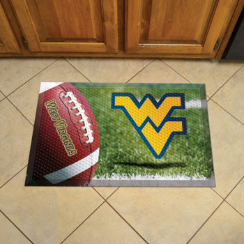 "19"" x 30"" West Virginia University Rectangle Scraper Mat - ""WV"" Logo"