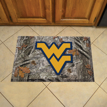 "19"" x 30"" West Virginia University Rectangle Camo Scraper Mat - ""WV"" Logo"