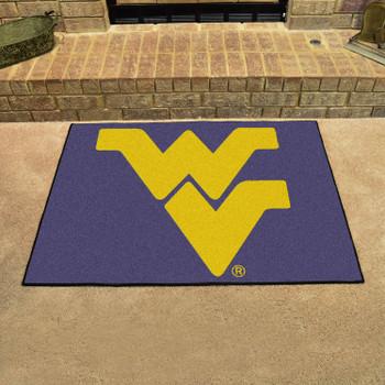 """33.75"""" x 42.5"""" West Virginia University All Star Navy Blue Rectangle Mat"""