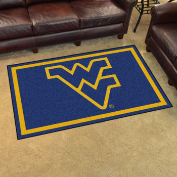 4' x 6' West Virginia University Navy Blue Rectangle Rug