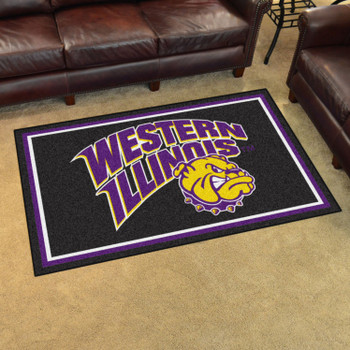 4' x 6' Western Illinois University Black Rectangle Rug