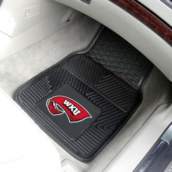 Western Kentucky University Heavy Duty Vinyl Front Black Car Mat, Set of 2