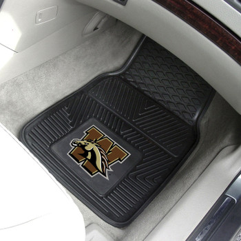 Western Michigan University Heavy Duty Vinyl Front Black Car Mat, Set of 2