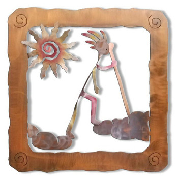 Kokopelli Cloud Walker Sunset Swirl Metal Wall Art