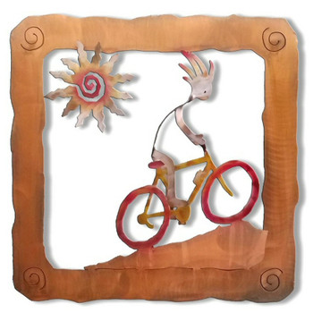 Kokopelli Trail Bike Rider Sunset Swirl Metal Wall Art