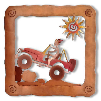 Kokopelli Jeep Rider Sunset Swirl Metal Wall Art