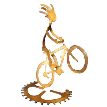 Kokopelli Wheelie Boy Bike Rider Rust Metal Sculpture