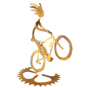 Kokopelli Wheelie Girl Bike Rider Rust Metal Sculpture