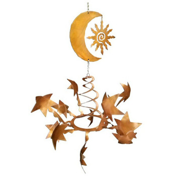 Stars with Southwest Sun & Moon Rust Metal Wind Spinner Sculpture
