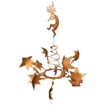Stars with Flute Kokopelli Rust Metal Wind Spinner Sculpture