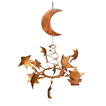 Stars with Moon Rust Metal Wind Spinner Sculpture