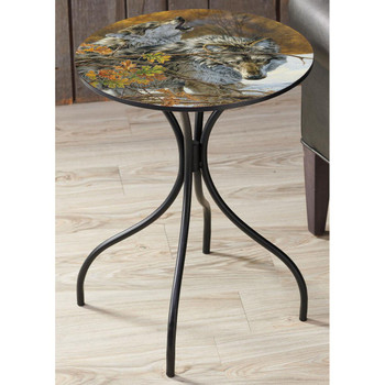 Body Language Wolves Metal Accent Table with Printed Top by Lee Kromschroeder