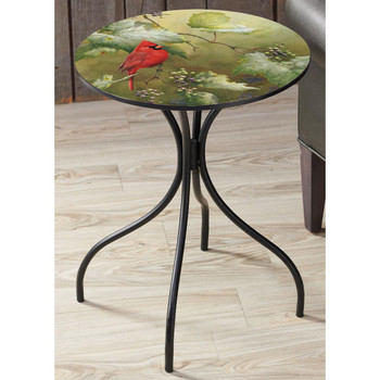 Vineyard Cardinal Bird Metal Accent Table with Printed Top by Catherine McClung