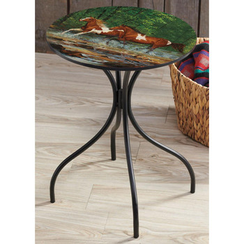 Spring Creek Run Horses Metal Accent Table with Printed Top by Chris Cummings
