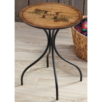 Home Sweet Home Pinecones Metal Accent Table with Printed Top by Rosemary Millette