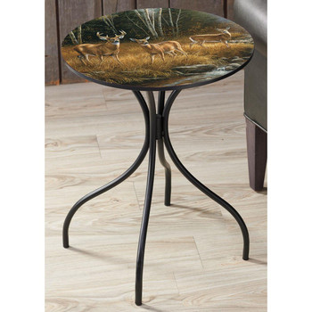 October Mist Whitetail Deer Metal Accent Table with Printed Top by Rosemary Millette