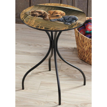 All Hands on Deck Lab Puppies Metal Accent Table with Printed Top by Rosemary Millette