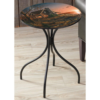 Comforts of Home Cabin Metal Accent Table with Printed Top by Terry Redlin