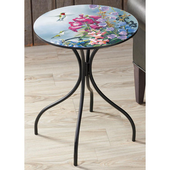 Victorian Seasons Hummingbirds and Flowers Metal Accent Table with Printed Top by Susan Bourdet