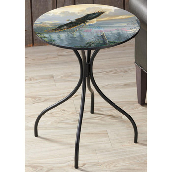 Rebuilding America Bald Eagle Bird with American Flag Metal Accent Table with Printed Top by Persis Clayton Weirs