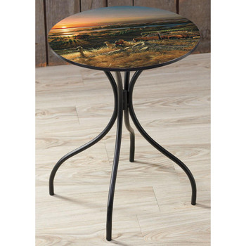 Best Friends Hunter and Dog Metal Accent Table with Printed Top by Terry Redlin