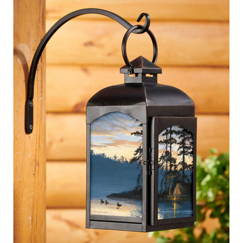Peace and Quiet Loons Black Metal and Glass Candle Lantern by Persis Clayton Weirs