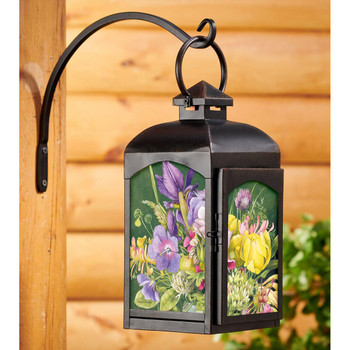 Spring Bouquet Flowers Black Metal and Glass Candle Lantern by Marjolein Bastin