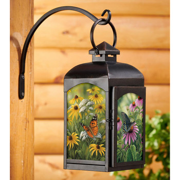Butterflies and Flowers Black Metal and Glass Candle Lantern by Rosemary Millette
