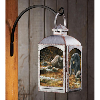 Streamside Bear Galvanized Gray Metal and Glass Candle Lantern by Rosemary Millette