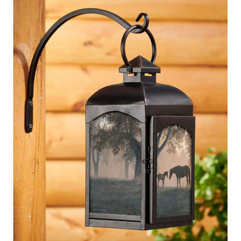 Dawn's First Light Horses Black Metal and Glass Candle Lantern by Persis Clayton Weirs
