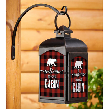 Plaid Welcome to Our Cabin Black Metal and Glass Candle Lantern
